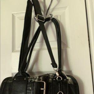 Icing Bags - gray & black poofy cheetah w/black handles/strap